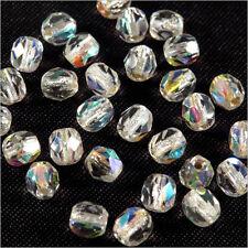 Facettes de Bohème 4mm Cristal AB Trous argenté Lot de 50 perles