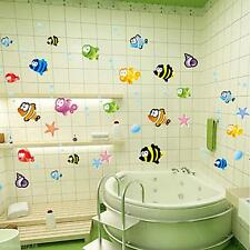 Cute Cartoon Fishes Wall Sticker Bathroom Baby Room Nursery Kids Decor Decal