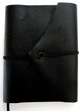 Mini Journal Genuine Black Leather Handmade Pocket Ruled Notebook Paper