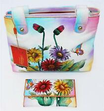 "Articious 100% Handpainted Leather ""Spring"" Handbag & Wallet BN Authentic"