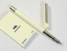 Pirre Paul's F 101 Fountain Pen WHITE barrel F nib 5 JINHAO cartridges BLUE