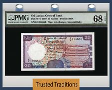 TT PK 97b 1989 SRI LANKA 20 RUPEES PMG 68 EPQ SUPERB GEM UNCIRCULATED POP ONE!