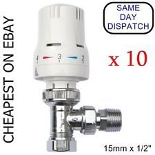 "10 x THERMOSTATIC RADIATOR VALVES 15mm/ 10mm x 1/2"" with REDUCING KIT"