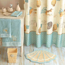 Fabric Shower Curtain Coastal Collage Sea Shells Ocean Bath Decor Tropical Coral