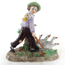 SITZENDORF PORCELAIN FIGURE OF BOY WITH GEESE HAND PAINTED