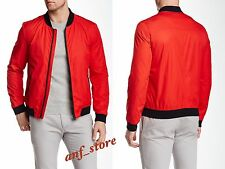 NWT HUGO BOSS Bervi Bomber Moto RED Mens Jacket L LARGE $395 Water Repellant