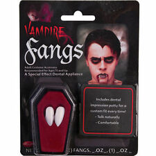 WHITE VAMPIRE FANG CAPS INCLUDES DENTAL ADHESIVE HALLOWEEN FANCY DRESS ACCESSORY