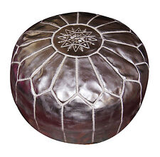 Leather Pouf Carved Moroccan Pooff Pouff Hassack Middle East Ottoman Foot Stoul