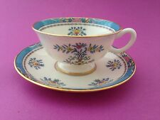 Lenox Blue Tree China Footed Coffee Tea Cup and Saucer 5.25 inch Black Backstamp