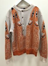 Jeremy Scott Fall 2008 Opulence Fox Luxe Henley Wool Sweater Medium