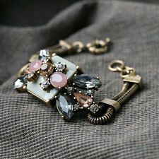 Vintage Style Chunky Floral Crystal Glass Bronze Cuff Bracelet Double Chain