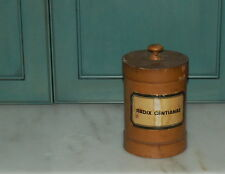 German Paste Board Wood Lid Radix Gentianae Gentian Root Apothecary Canister