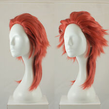 Long fluffy spikey cosplay costume wig in muted red, UK SELLER, Saiyan style