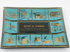 1963 Square Dish History of Hardware Norton Door Closer Turquoise Black Gold VTG