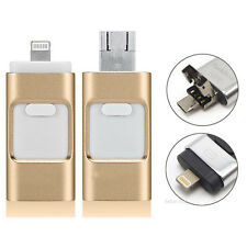 128G Flash Drive USB Memory Stick U Disk 3 in1 for Android IOS iPhone 5 6 6S PC