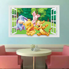 3D View Winnie the Pooh Girls Gift Kids Nursery Room Decor Wall Sticker Decals