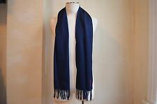 YVES SAINT LAURENT BLUE WOOL RED YSL SIGNATURE WIDE FRINGE SCARF MADE IN ITALY