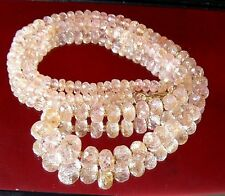 RARE NATURAL FACETED PINK CHAMPAGNE BRAZIL IMPERIAL TOPAZ 14K GOLD NECKLACE