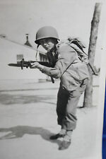 Large Original WW2 Photograph of a U.S. Army Soldier w/Rifle and Fixed Bayonet