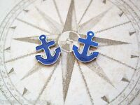 *NAUTICAL NAVY BLUE ENAMEL ANCHOR* Stud 13mm Silver Plated Earrings Sailor Jerry