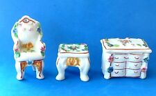 VINTAGE PORCELAIN MINIATURE CHAIR STOOL COVERED CHEST OF DRAWERS HAND PAINTED FL