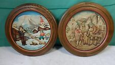 "2 ANRI Hand Carved Wood Plate 1972, 1973 ""Christmas Day"""
