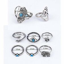 GirlZ! Vintage Bohemian Turkish Steam punk Silver Plated Blue Stone Ring  Set