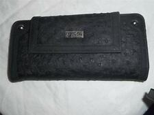 Buxton Black Ostrich  Wristlet Clutch Wallet,Black