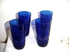 Vintage ARCOROC Cobalt Blue (4 Glass Tumblers) Made In France Drinking Glasses!