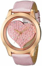 Guess U0113L5 Women's Rose Gold Tone Crystal Heart Dial Leather Band Watch