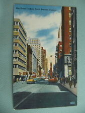 Downtown View Bay Street Looking North TORONTO CANADA Linen Postcard