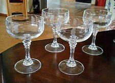 Princess House BORDEAUX Lead Crystal Heritage 4 Champagne Dessert Glasses #891