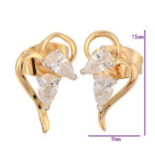 Amazing Yellow Gold Filled Clear Swarovski Crystal womens stud earrings