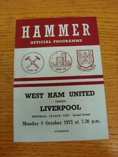 08/10/1973 West Ham United v Liverpool [Football League Cup] (Team Changes). Tha