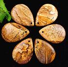 6PCS Beautiful natural Teardrop Picture Jasper pendant bead 36x26x7mm BC1884