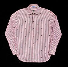 authentic PAUL SMITH PS maroon stripes x flower emb SHIRT men L jacket sweater