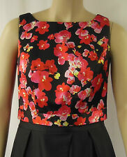 City Chic Black Red Satin Sleeveless Crop Floral Top Plus Size XS 14 BNWT #CC339