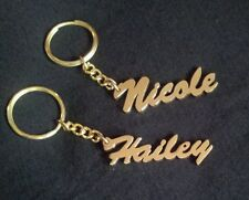 Your Name Personalized key chain Yellow Brass Metal Gift Idea Key Ring
