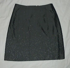 "GAP: Dark Gray/ Metallic/ Silver Beaded & Lined 18.5"" Dress Stretch Skirt: 1"