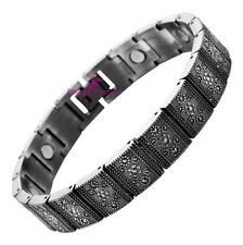 Women Magnetic Bracelet Floral Antique Silver Plated Ionic Link Chain Jewellery