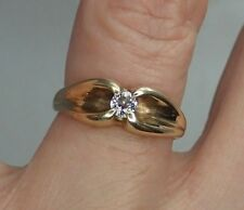Old European Cut Diamond set in Belcher style Vintage ring 14K