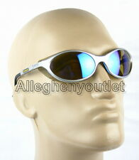 Premium Bandit Silver Frame Blue Mirror Lens Motorcycle Glasses Sunglasses NEW