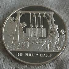 La poulie bloc l'humanité inventions hallmarked silver proof 32mm médaille