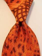 ROBERTO CAVALLI Mens Silk Necktie ITALY Luxury Geometric Orange/Brown EUC Rare