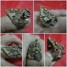 Brass Ring Size 11 Vishnu Ride on Garuda & Naga Thai Amulet K49