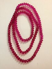 "Beautiful Pink Shinny Crystal Glass Necklace 37"" Long (K268)"