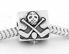 STERLING SILVER ZABLE HOCKEY MASK STICKS PUCK EUROPEAN BEAD