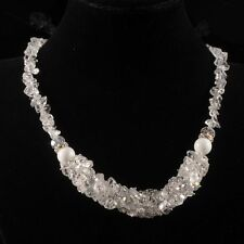 """g2288 White clear quartz rock crystal chips beaded adjustable necklace 18-20"""""""