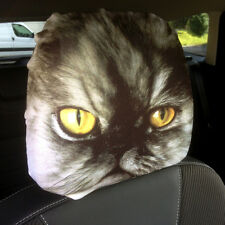 CAR SEAT HEAD REST COVERS 2 PACK PERSIAN CAT DESIGN MADE IN YORKSHIRE