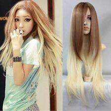 Harajuku Blond Gradient Perruque Longue Raide Tout Droite Cheveux Cosplay Wig